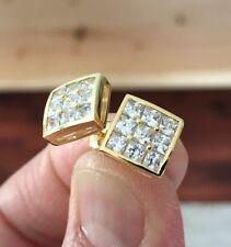 10K Gold 0.06 ct. Square Cut Diamond Invisible Set Screw Back Stud Earrings 10mm