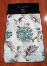 NEW ENVOGUE Teal Gold Floral Window Curtain Panels 50x96 PAIR Aqua Green