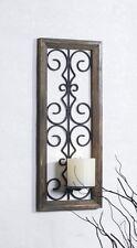 Metal Candelabro de PARED PORTAVELAS Soporte de vela Candelero Marco de madera