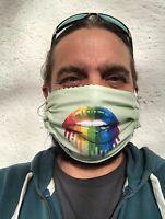 HLP Wende-Behelfsmaske Community Maske - Rainbow Lips green - organic fairwear!