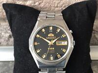 Vintage 1970s Wrist Watch Orient 3Star Crystal Black Dial with Bracelet