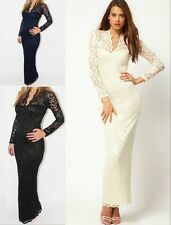 UK Womens Lace Floral Maxi Long Sleeve V-neck Bodycon Cocktail Evening Dress NEW