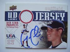 Garin Cecchini signed Red Sox 2009 Upper Deck Usa Gu Jersey baseball card Auto