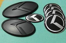 7pcs 3D black K Emblem Set (Grille Trunk Steering Wheel 4 Rims)For Kia Optima K5