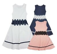 Girls Texture Skater Sleeveless Dress Kids Party Summer Dresses Age 4-14 Years
