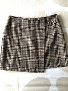 Next Brown/Multi A-Line Check Short Wrap Winter Skirt Uk14 Wool Mix Lined Tweed