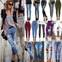 Womens Destroyed Ripped Skinny Denim Jeans Pants Stretchy Slim Jeggings Trousers