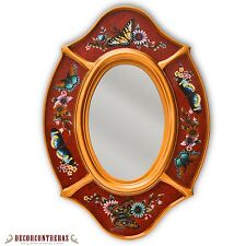 Peruvian Oval Mirror for wall, Handpainted Glass Wood Decorative Oval Mirror