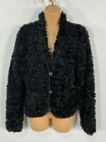WOMENS JFW CASUAL BLACK SPARKLY BUTTON UP FLUFFY CARDIGAN JUMPER JACKET SMALL S
