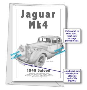 Jaguar Mk4 1948 portrait greetings card
