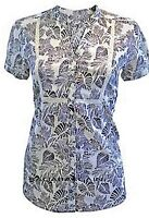 NEW PER UNA BLACK IVORY WHITE FLORAL SUMMER BLOUSE SHIRT TOPS LADIES SIZE 8 - 10
