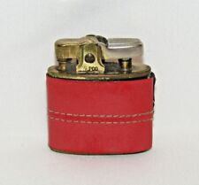 """Vintage ALPCO Cigarette Lighter Made In Japan Red Leather Wrapped - 2"""" x 1 7/8"""""""