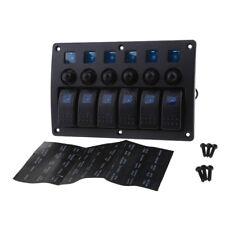 6 Gang Rocker Switch Panel Blue LED Waterproof for Car Boat Marine RV
