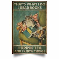 Books And Cat A Woman Cannot Survive On Books Poster Art Print Decor Home