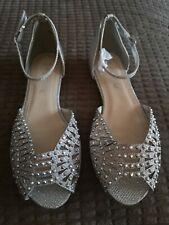Zapato de Plata Brillo Para Mujer Talla 3
