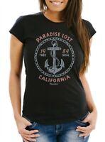 Damen T-Shirt Anker Motiv maritim Schriftzug California Paradise lost Fashion