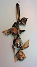 Vintage Christmas Holiday Sleigh Bells 3 Brass Bells On Ribbon Hanging Bells