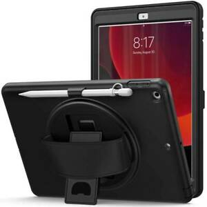 """Heavy Duty Rotate Stand Hand Strap Case Cover For iPad 7th 8th Gen 10.2"""" 2020/19"""