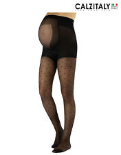 Sheer Maternity Tights with POLKA DOTS, Patterned Pregnancy Pantyhose 20 DEN