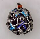 Chinese Sterling Silver Enamel Pendant with Encased Pit Seed -  84789