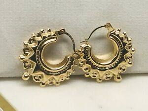 Victorian Style Gypsy Creole Hoop Earring - 9K Yellow Gold - 20MM