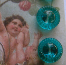 """Set of 6 ~ Vintage  1/2"""" Teal Blue Crystal Glass Buttons~ new/old stock"""
