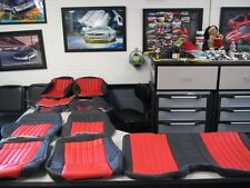 1997 2002 Pont Trans Am seat covers & door panel inserts Black/Red WITH TA LOGOS