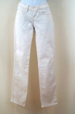 7 FOR ALL MANKIND Womens White Denim Silver Stitch Straight Leg Jeans Sz 26