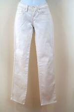 7 FOR ALL MANKIND Womens White Denim Silver Stitch Straight Leg Jeans Sz 26