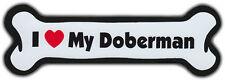 Dog Bone Magnet: I Love My Doberman Pinscher | Dogs Doggy Puppy | Car Automobile