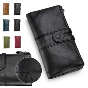 Women's Long Real Leather RFID Blocking Wallet Card Holder Coin Purse Clutch Bag