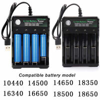 4-Slots Battery Charger Smart Charging For 18650 Rechargeable Li-Ion Battery USB