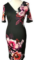 Womens Ladies Black Floral Scuba Dress Stretch fitted Size 6-8-10-12-14-16 BRAND