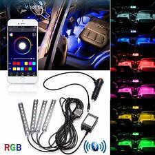 4 x 9 LED Bluetooth Multicolore Auto Vano piedi Interno Luce Adatto A Tutti Fiat