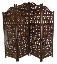 Topfurnishing 4 Panel Heavy Duty Indian Screen Wooden Gamla Design Room Divider