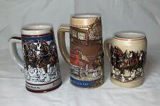 Lot Of 3 Budweiser Beer Steins. Anheuser Busch