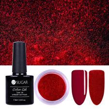 2Pcs Red Velvet Nail Glitter Powder & 7.5ml Soak Off Gel Polish Varnish UR SUGAR
