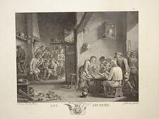GRAVURE XVIII° DAVID TENIERS SCENE JEUX TAVERNE HOMME JOUEUR PLAY PLAYEUR PIPE