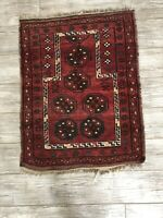 "Vintage 3'6"" x 2'7"" Red Prayer Rug Made in Bokhara, Afghanistan"