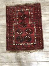 "Vintage 3'6"" x 2'7"" Red Prayer Rug Made in Bokhara, Afghanistan"