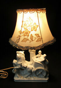 Vtg White Ceramic Horse Table Lamp Small Bedside Light Chariot MCM Equestrian