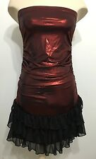 Shiny Tri color Ladies Pull Up Elasticated Tube Party Evening Coctail Dress Sz L