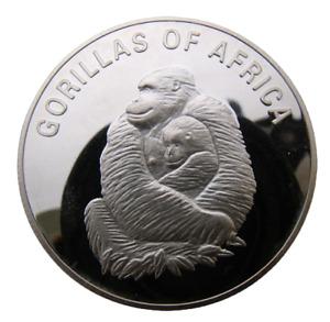 UGANDA 1000 SHILLINGS 2003 ANIMAL GORILLA WITH BABY - BIG HEAVY PROOF COIN