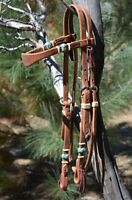 Jose Ortiz Harness Shape Browband Headstall Braided Natural/Turquoise Rawhide
