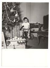 Pequeño niño en su triciclo comedor Noël Abeto foto antigua año. 1950 60