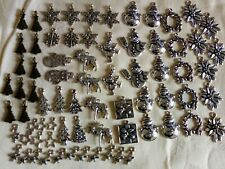 100 Single Candy Cane With Bow Tibetan Silver Christmas Charms  16.5x7.5mm