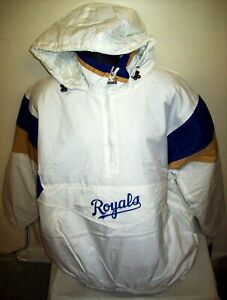 KANSAS CITY ROYALS Starter Hooded Half Zip Pullover Jacket OFF WHITE S M L XL 2X