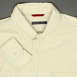 Masons Mens Shirt L Solid Beige Teal Contrast Stitching Button Front Cotton