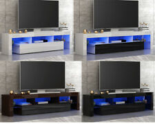 Modern Large 200cm TV Unit Cabinet Stand Matt Body & High Gloss Doors LED Lights