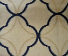Tempo Nautic Blue White Embroidered Ogee Geometric Valiant Fabric